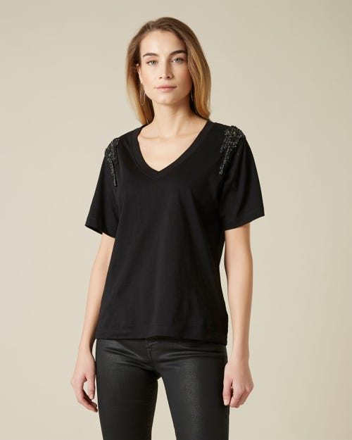 V-NECK S/S BLACK CASCADING COTTON BLACK
