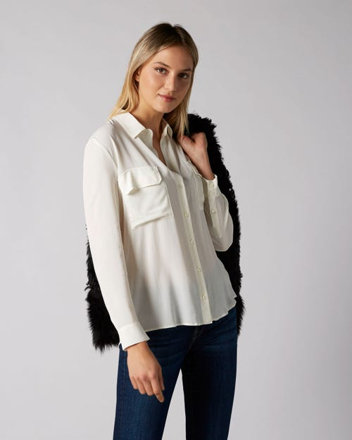 V-NECK SHIRT VISCOSE SILK CHAMPAGNE