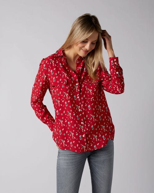 V-NECK SHIRT ACETATE SILK RED WITH DITSY FLOWERS