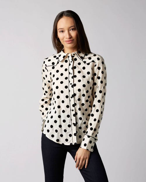 7 For All Mankind - Western Shirt Viscose White With Polka Dots