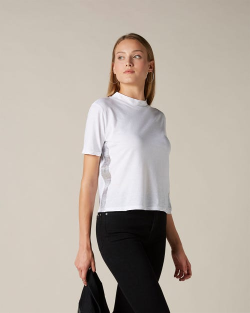 MOCK NECK TOP COTTON WHITE SILVER LAMINATED OUTSEAM STRIPE