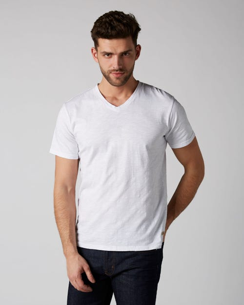 7 For All Mankind - V-Neck T-Shirt Slub White