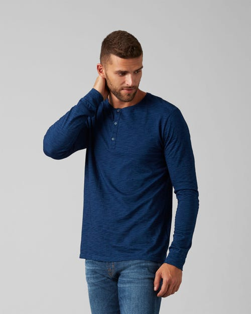 7 For All Mankind - Henley Tee Cotton Dark Indigo