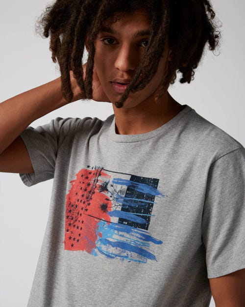 7 For All Mankind - Graphic Tee Cotton Grey With Printed Flag
