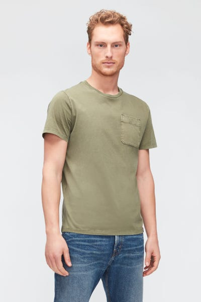 1 POCKET TEE OLD DYE  WASHED ARMY