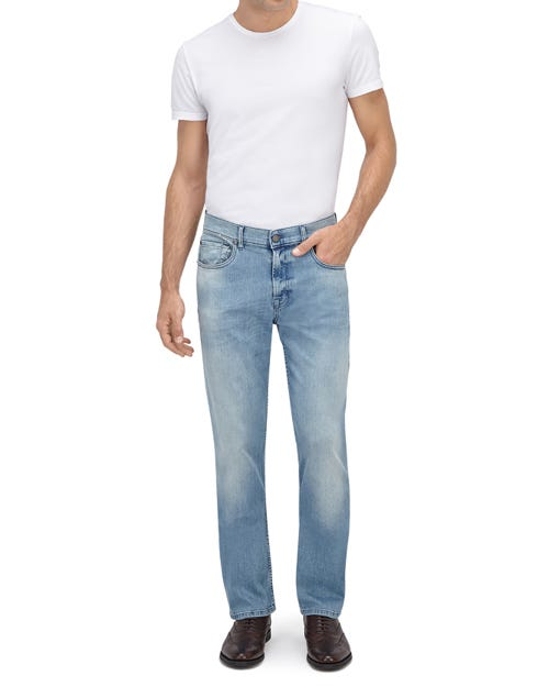 7 For All Mankind - Slimmy Luxe Performance Gold Pearl Light Blue