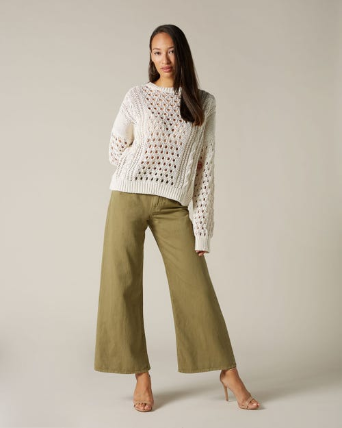 LOTTA CROPPED COLORED LINEN SAGE