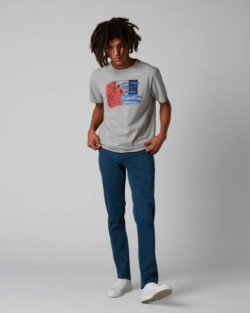 7 For All Mankind - Extra Slim Chino Luxe Performance Sateen Petrol Blue