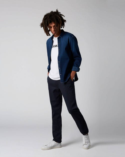 7 For All Mankind - Extra Slim Chino Luxe Performance Sateen Navy Navy