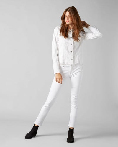 7 For All Mankind - Denim Jacket Pure White With Allover Crystals