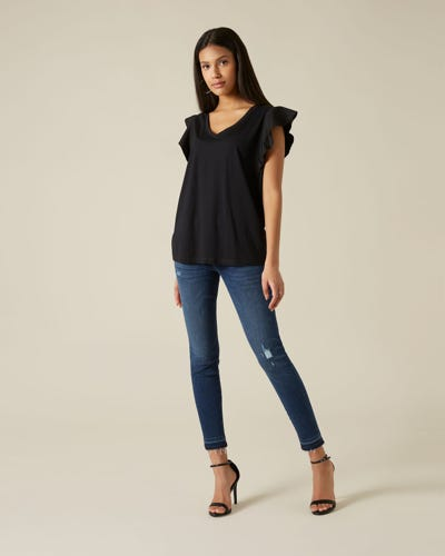THE SKINNY CROP UNROLLED SLIM ILLUSION PERSUIT DISTRESSED