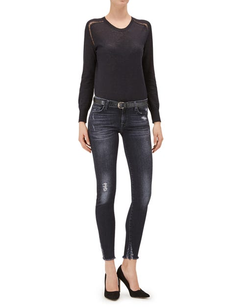 THE SKINNY CROPPED SLIM ILLUSION WASHED BLACK LASER