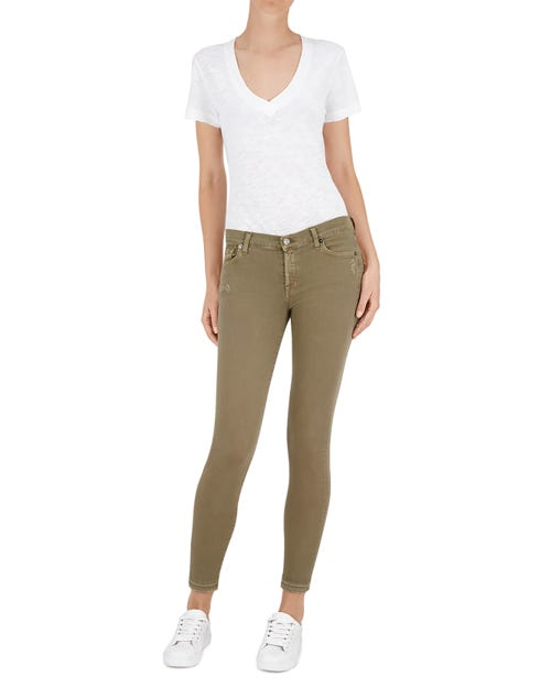 THE SKINNY CROP UNROLLED COLOR SLIM ILLUSION ARMY