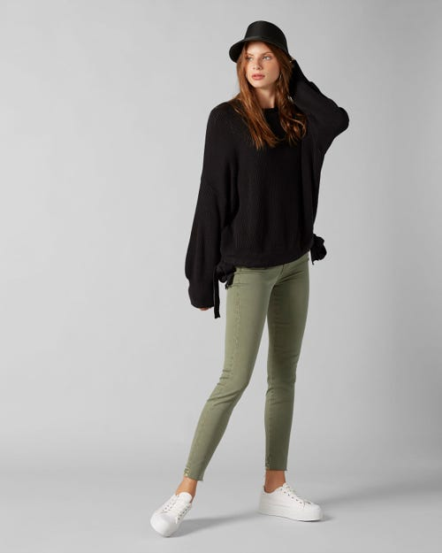 7 For All Mankind - The Skinny Crop Colored Slim Illusion Woodland With Raw Cut And Back Unrolled Hem
