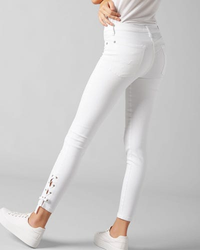 17c9001ee1c 7 For All Mankind - The Skinny Crop Slim Illusion Pure White With Lace Hem