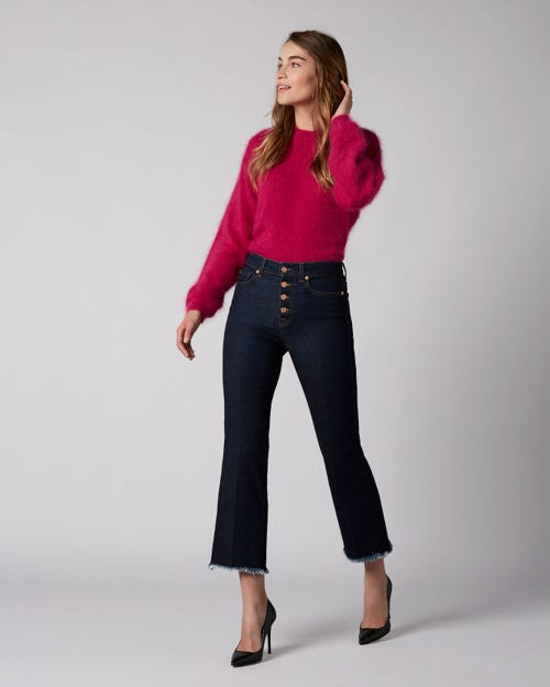 7 For All Mankind - High Waist Vintage Cropped Boot Original With Exposed Buttons And Uneven Hem
