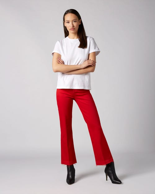 HIGH WAIST VINTAGE CROPPED BOOT UNROLLED COLORED SLIM ILLUSION RED