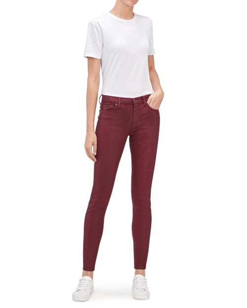 THE SKINNY COATED COLOR BURGUNDY
