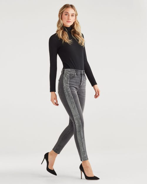 7 For all Mankind - High Waist Ankle Skinny With Metallic Glitter Tux Stripe