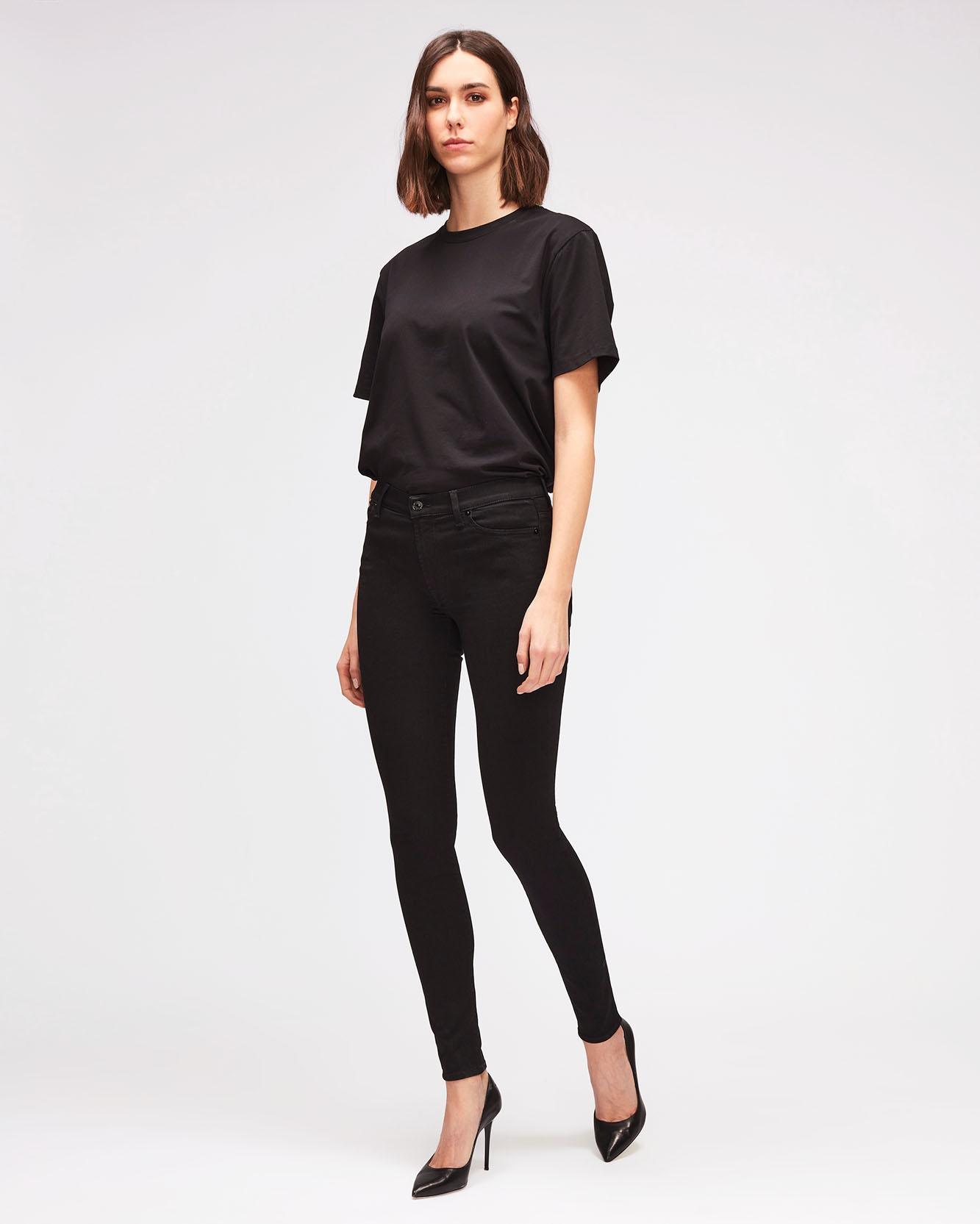 Womens Tight Fit Tapered Stretch High Waist Denim Jeans Black 10-12