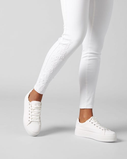 7 For All Mankind - Hw Skinny Crop Slim Illusion Pure White With White Embro