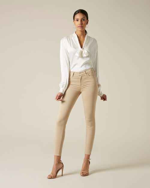 HIGH WAIST SKINNY CROP SATEEN BEIGE