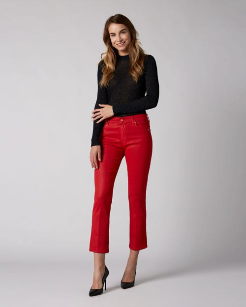 7 For All Mankind - Cropped Boot Coated Slim Illusion Flame